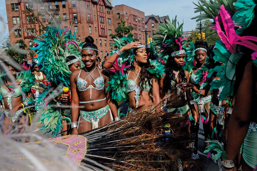 Mas in the big city: feathers and sequins on Brooklyn's Eastern Parkway. Photo by Stephanie Keith/Getty Images