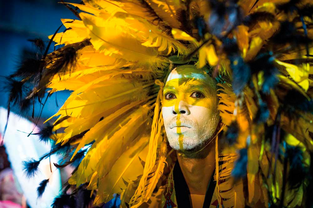 Warpaint and feathers: a traditional fancy Indian, one of the characteristic masquerades of Trinidad and Tobago Carnival. Photo by Jason Audain