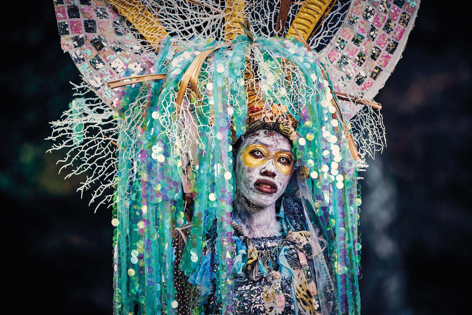 Shynel Brizan, T&T's Queen of Carnival 2019, portraying Mariel-la, Shad-ow of Con-scious-ness from the band Palace of the Peacock, presented by Moko Somõkõw. Photo by Jason C. Audain
