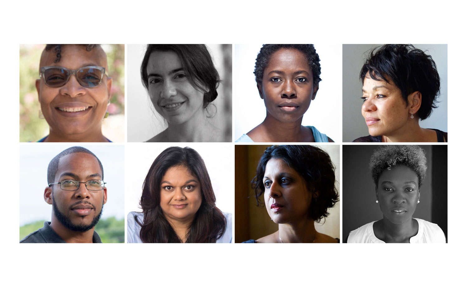 Authors in the virtual NGC Bocas Lit Fest programme include (top row, left to right) Nalo Hopkinson, Malka Older, Karen Lord, Tessa McWatt; (bottom row, left to right) Richard Georges, Ingrid Persaud, Vahni Capildeo, and Canisia Lubrin. Photos courtesy Bocas Lit Fest