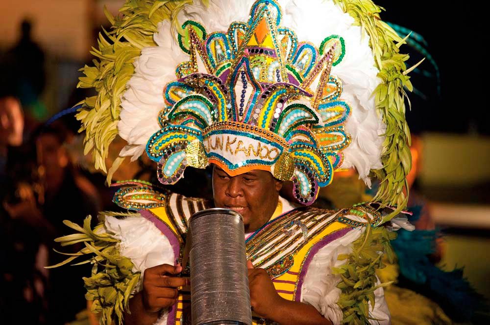 In the heat of Nassau's Junkanoo rush. Photo courtesy Bahamas Ministry of Tourism