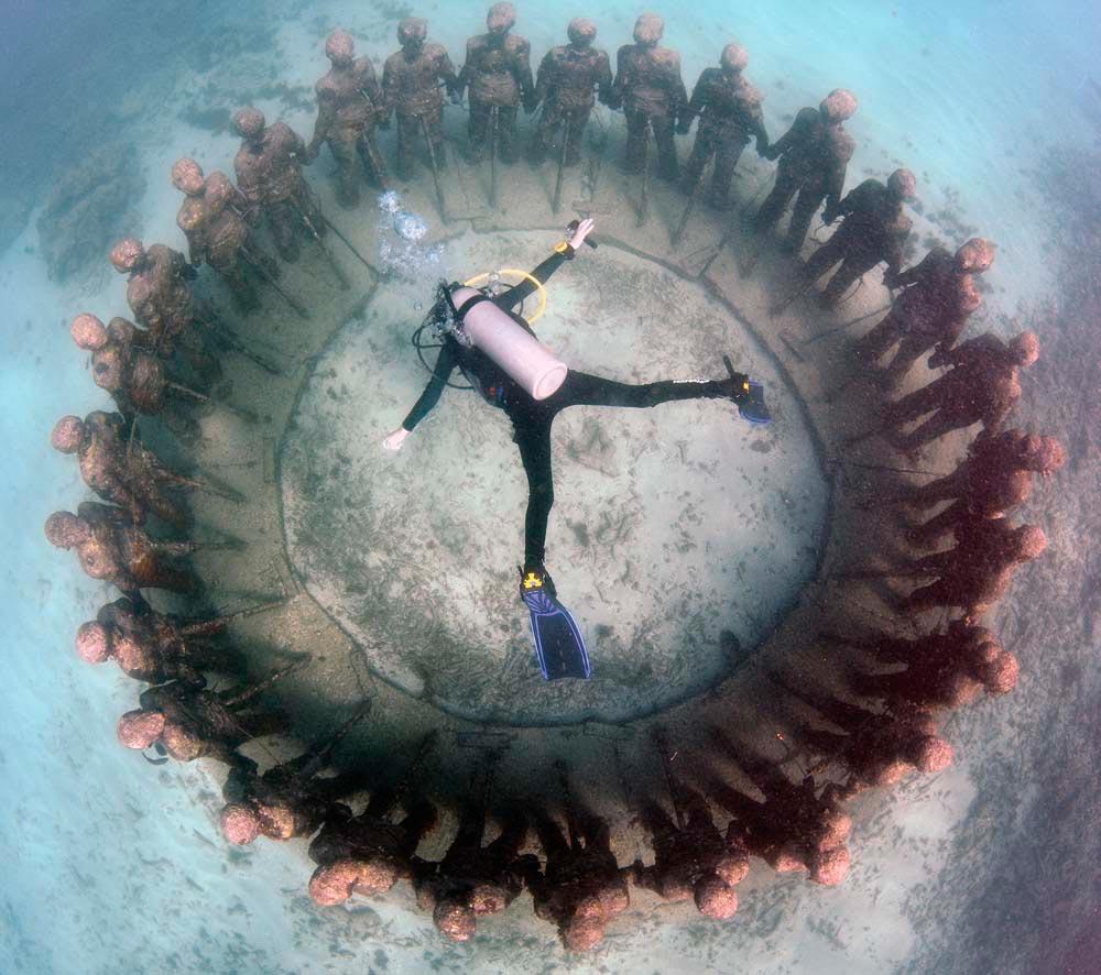 Underwater Sculpture Park. Mark Evans/courtesy The Grenada Scuba Diving Association