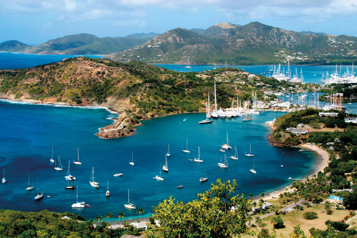 The view of Nelson's Dockyard from Shirley Heights, Antigua. Photo by Quiggyt4/Shutterstock.com