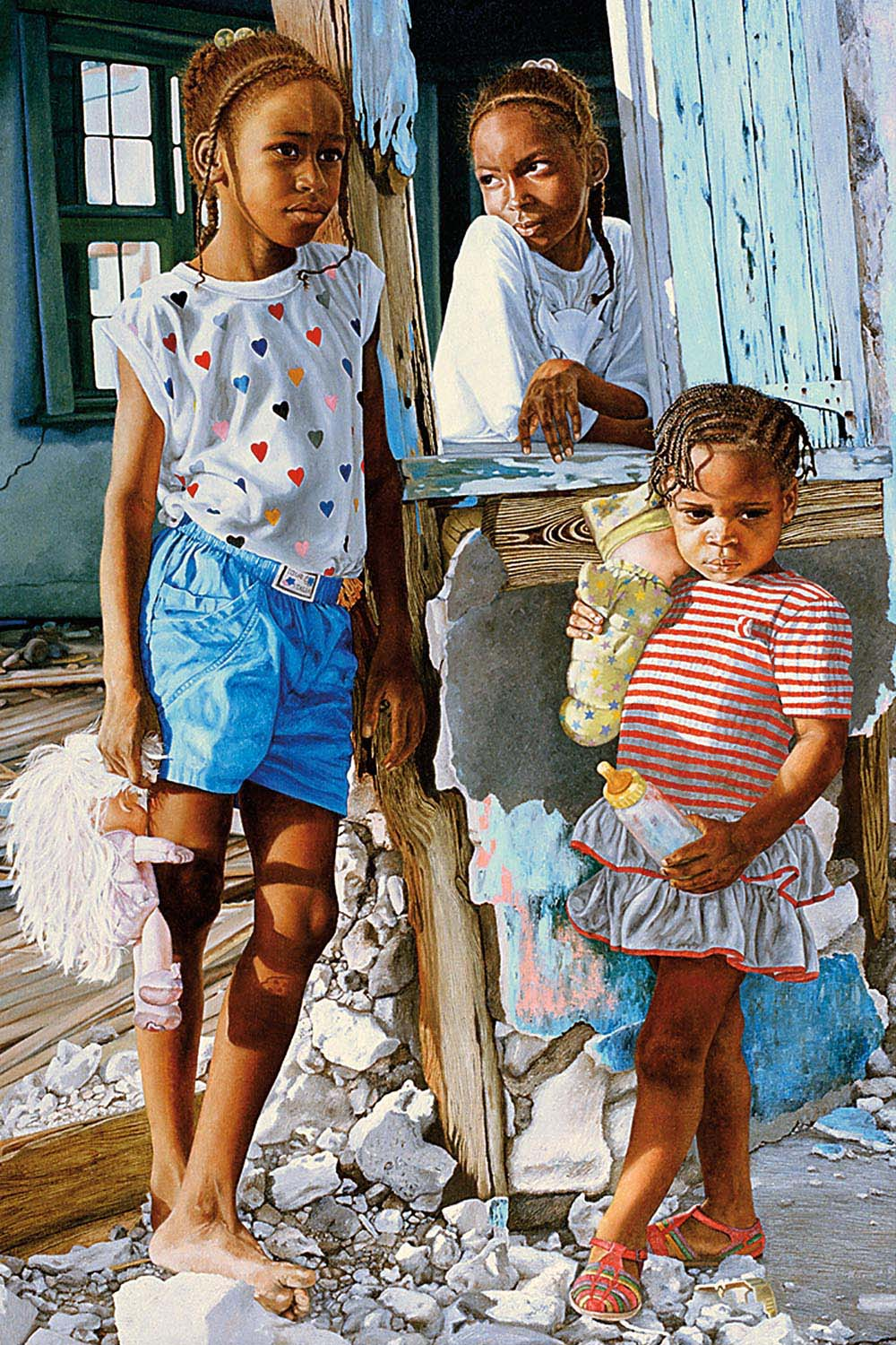 """Nicole Minnis's oil painting After the Storm depicts three children whose home has been destroyed. She writes: """"In August 1992, Hurricane Andrew hit the island of Eleuthera, where we lived. Anyone who has ever been through a major hurricane like Andrew or Dorian knows that this experience changes your life forever. Each [child's] expression is different, but captures their personal struggle and unique response to the same event. It took me almost a year to paint this canvas"""". Courtesy the National Art Gallery of The Bahamas"""