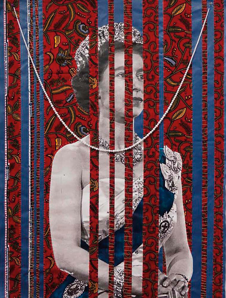 "Power Girl (Queen Versus Queen) (2018, ""African"" Chinese wax fabric, hand sewn into laser canvas prints with hanging counterfeit Chinese pearls and Asante/Ashanti handmade beads from Kumasi, Ghana), by April Bey. Image courtesy the artist"