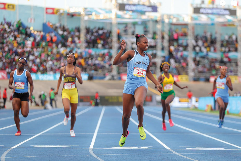 Kevona Davis of Edwin Allen High School won the girls' 100m and 200m races, both in records times, at CHAMPS 2018. Photo by Gilbert Bellamy/Photosbybellamy