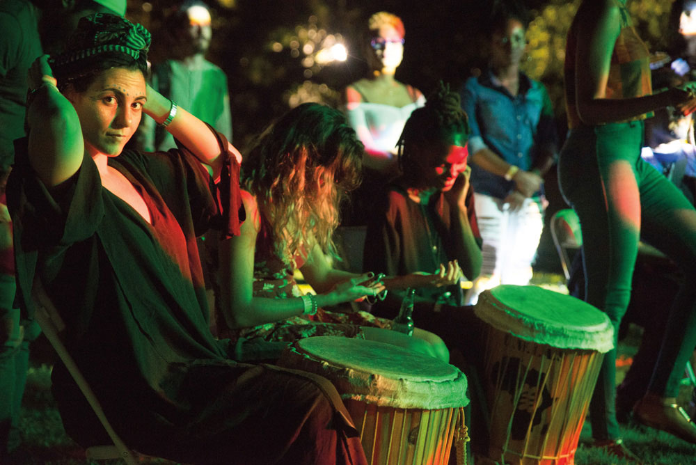 Finding the rhythm at the New Fire Festival's drum circle. Photo by Joshua Cazoe, courtesy New Fire Festival
