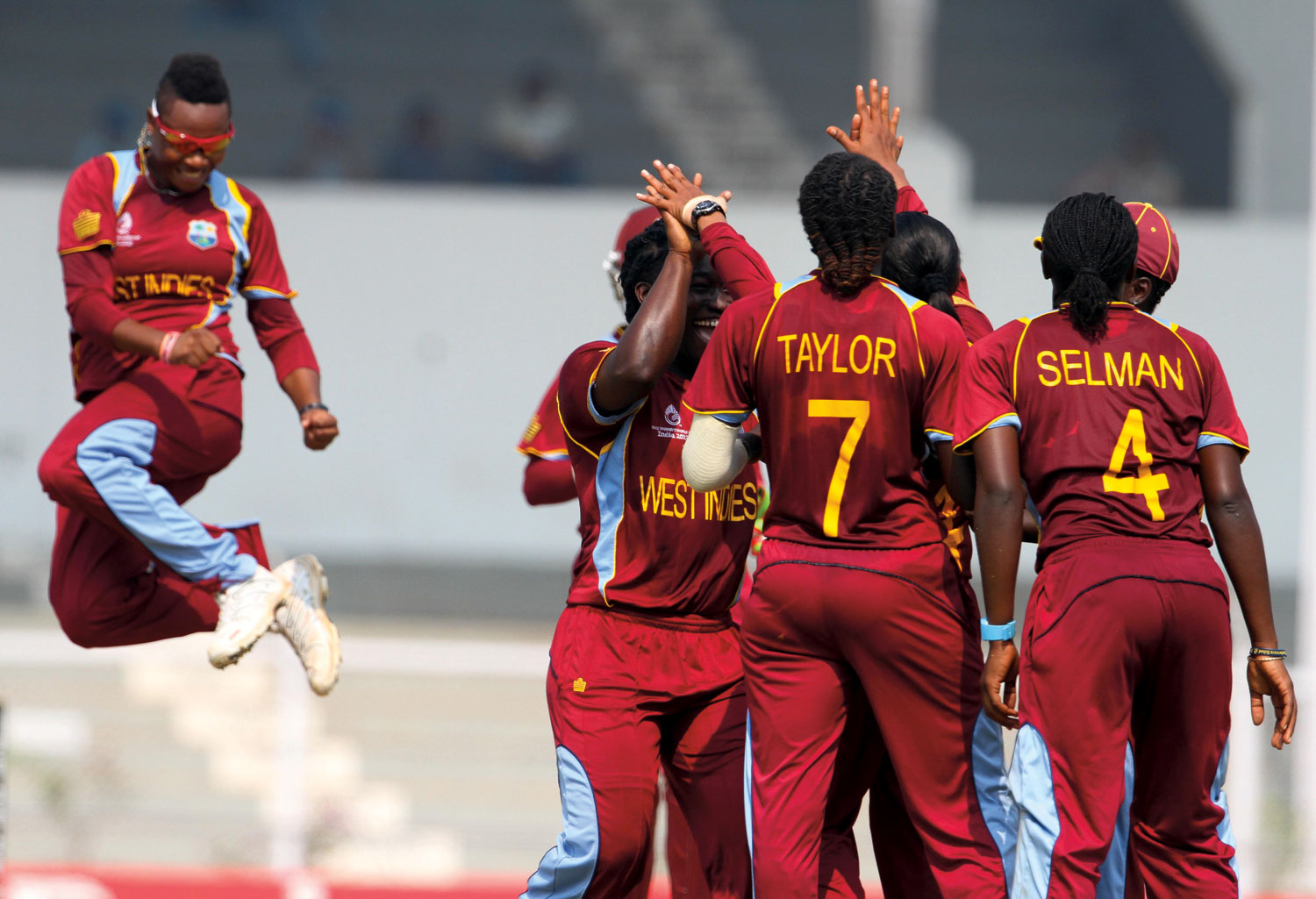 West Indies women's team players celebrate on the field. Photograph courtesy the West Indies Cricket Board