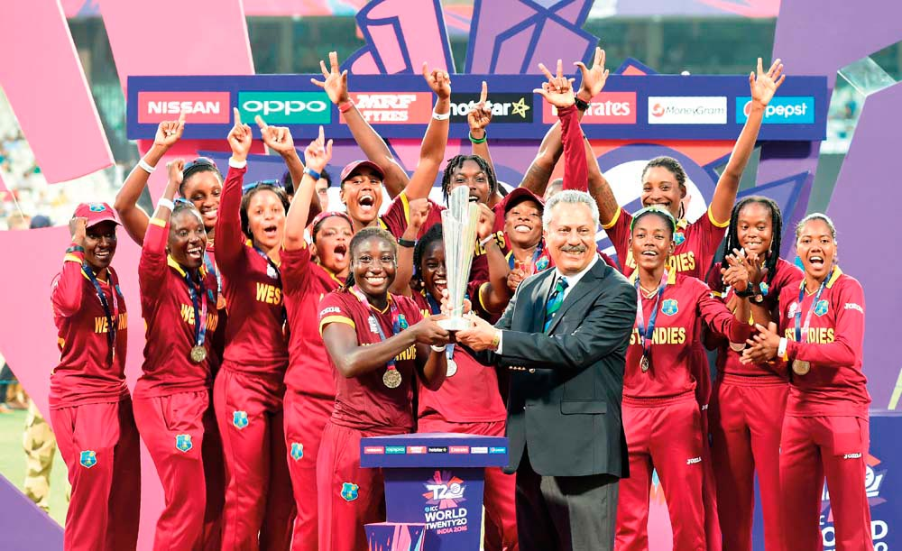 The victorious West Indies team at the 2016 ICC Women's World Twenty20 tournament. Photo by Indranal Mukherjee/AFP/Getty Images