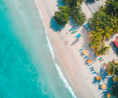 Looking down through the treetops to the sands of Grand Anse . . . Photo by Hugh Whyte courtesy Unsplash.com