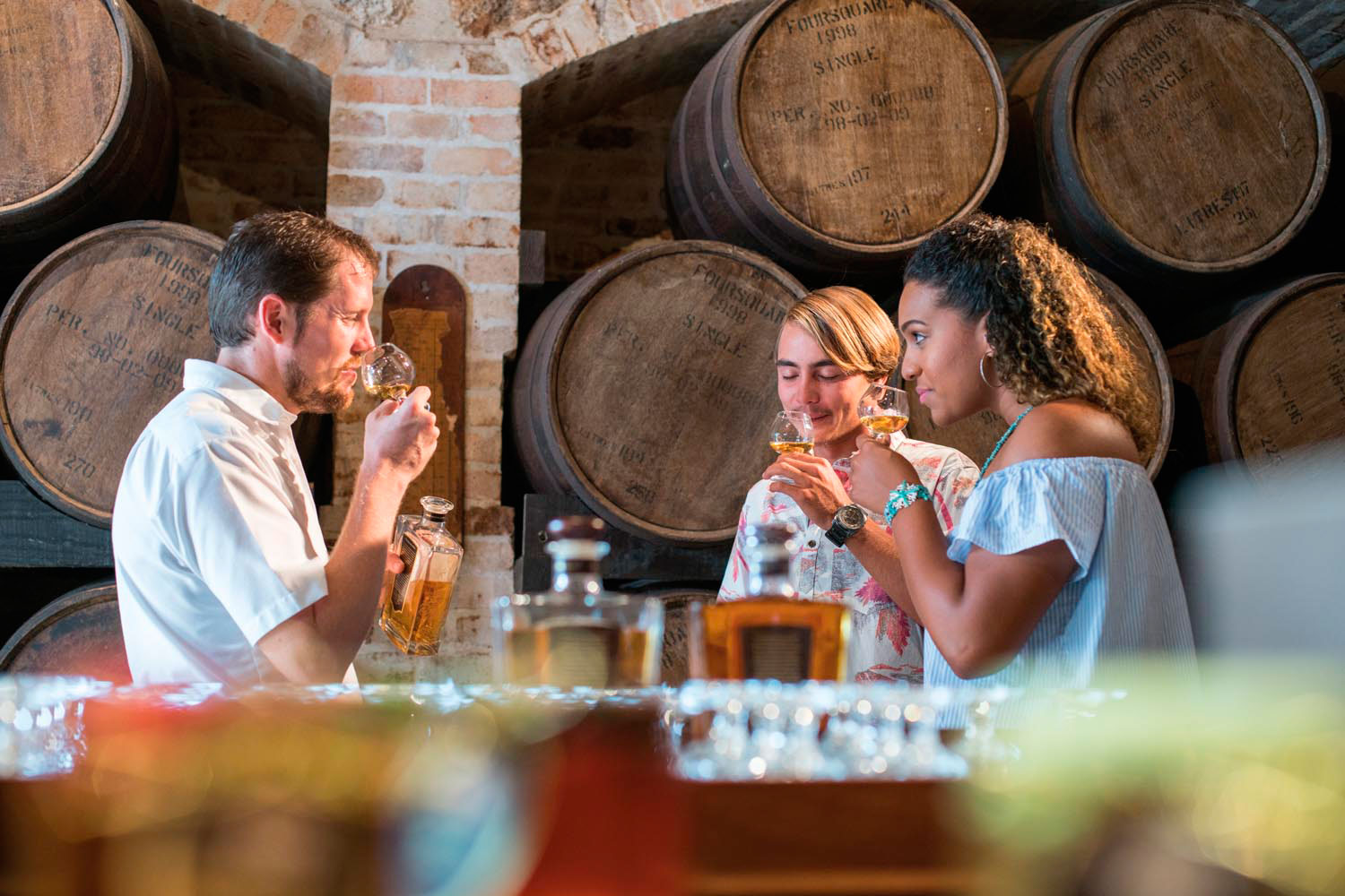 A rum tasting at historic St Nicholas Abbey. Photo courtesy Barbados Tourism Marketing Inc.