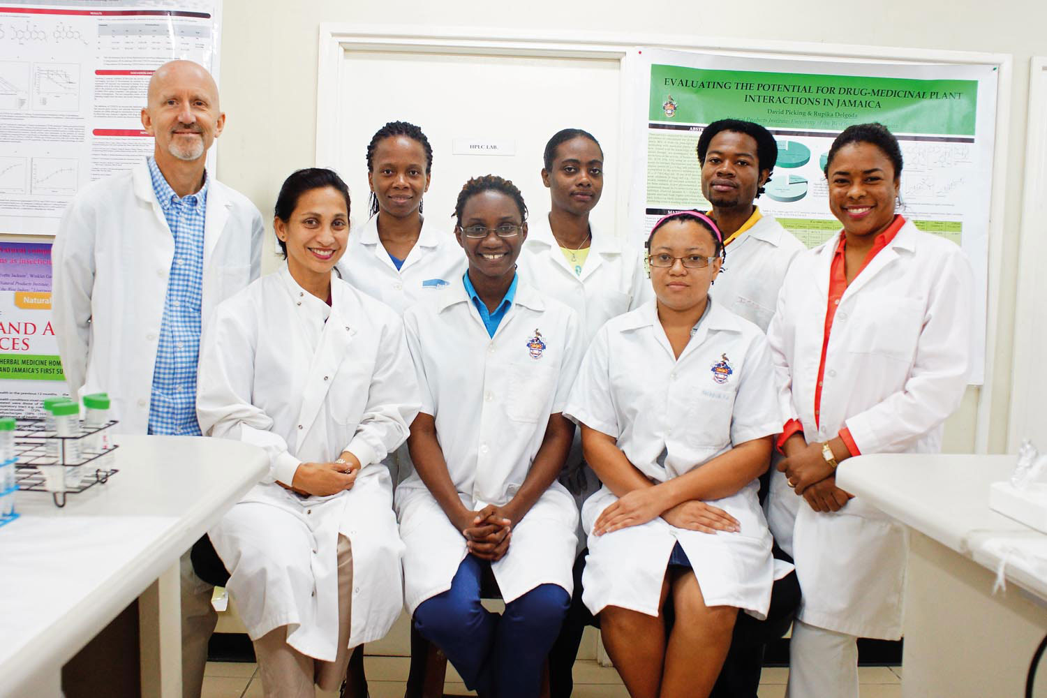 Members of the team at the Natural Products Institute at UWI Mona. Back row, from left: David Picking, Joette McKenzie, Kimberley Foster, Issac Morrison, Sheena Francis. Front row, from left: Rupika Delgoda, Je Ann Murray, Shaneice Wauchope. Photo courtesy National Products Institute