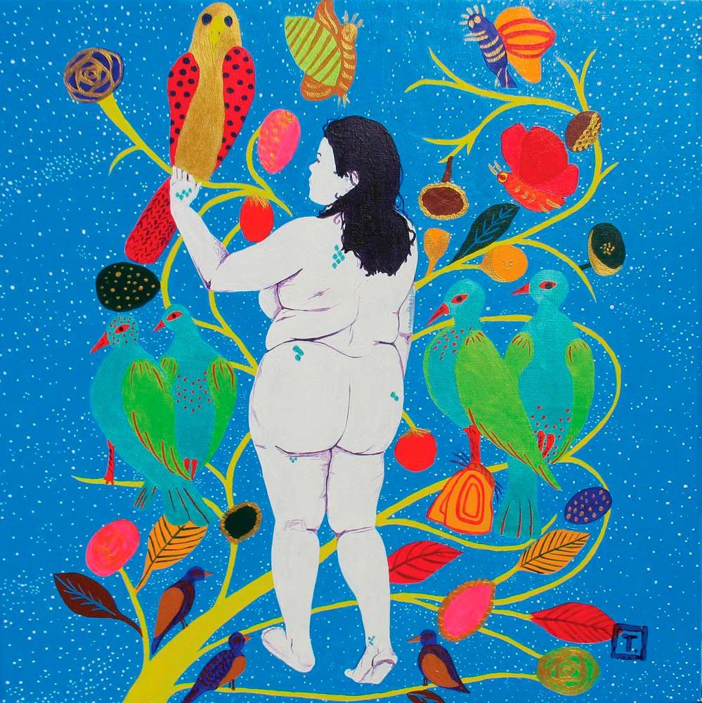 Converstion with Hector H (2015, acrylic on canvas, 65.3 x 65.3 cm). Courtesy Tessa Mars
