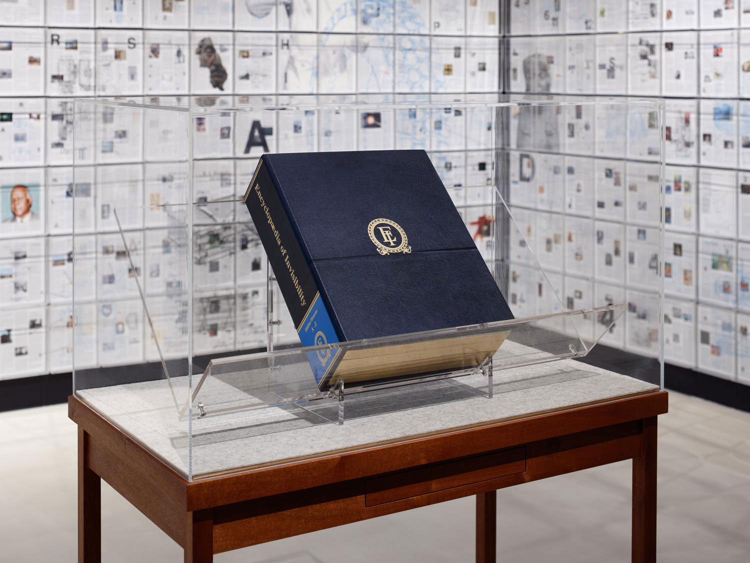 The Encyclopedia of Invisibility (Mahogany #9) (2018; leather, gilding, archival paper, maple, felt, acrylic, book, with stand). Photo courtesy the artist