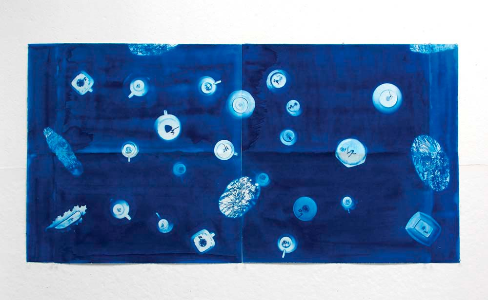 El Mundo desde abajo/Under View of the World (2015–16, cyanotype panel, 30 x 40 x 2 inches), by Juana Valdes. Photo courtesy Of The Artist