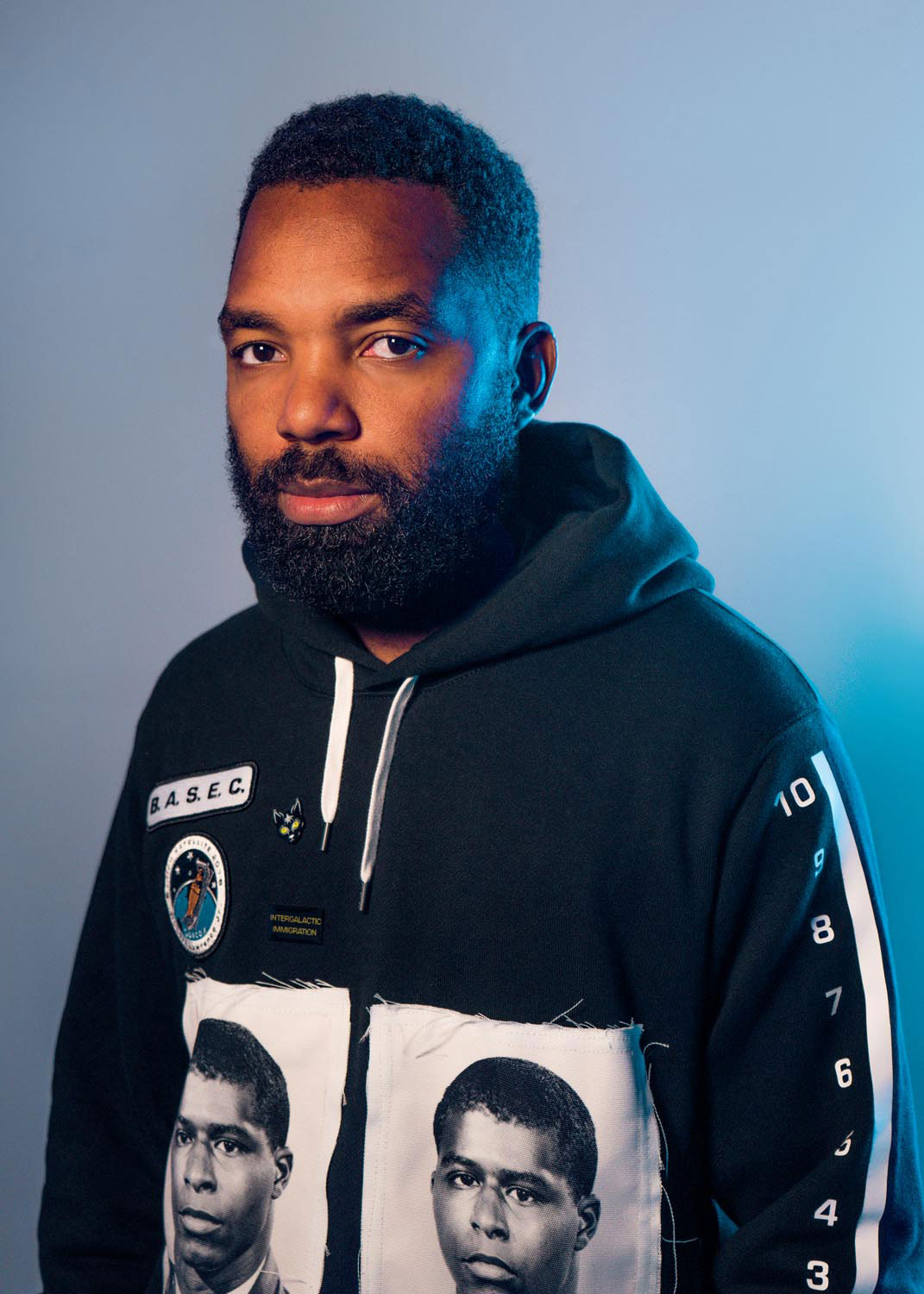 Tavares Strachan wearing one of his B.A.S.E.C. jackets. Photo by Brooke Didonato, courtesy the artist