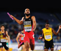 """""""A finish for the ages,"""" said the commentators: Machel Cedenio on the final leg of the men's 4x400-metre event at the 2019 World Relays championship in Yokohama, Japan. Photo by Roger Sedres/Shutterstock.com"""