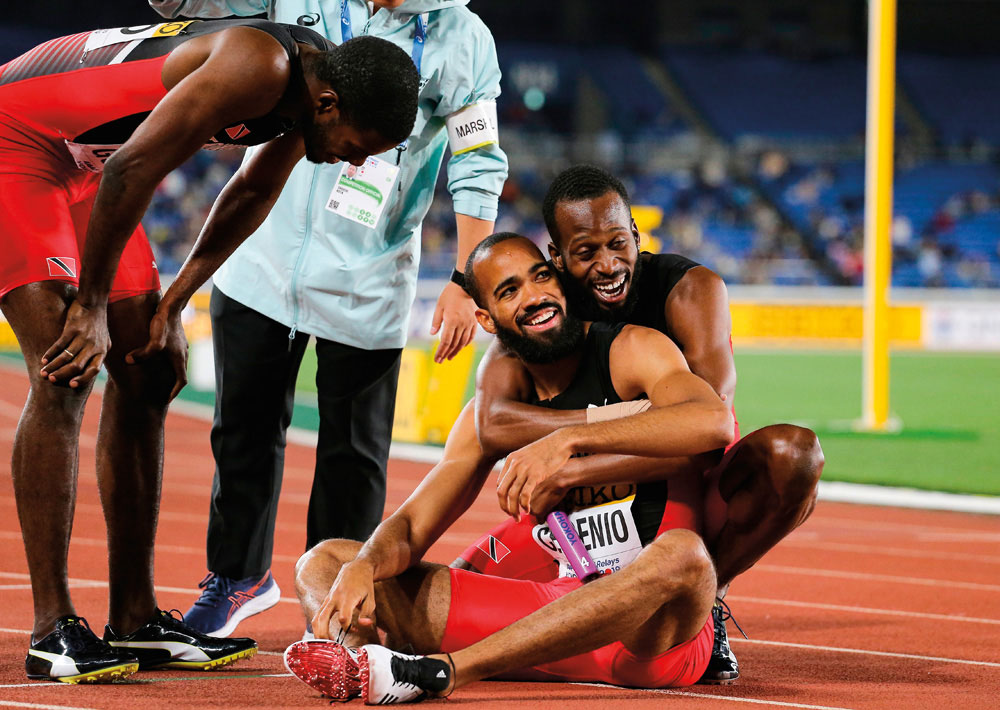 Cedenio with teammate Jereem Richards, after winning the 4x400-metre race at the 2019 World Relays. Photo by Roger Sedres/Shutterstock.com