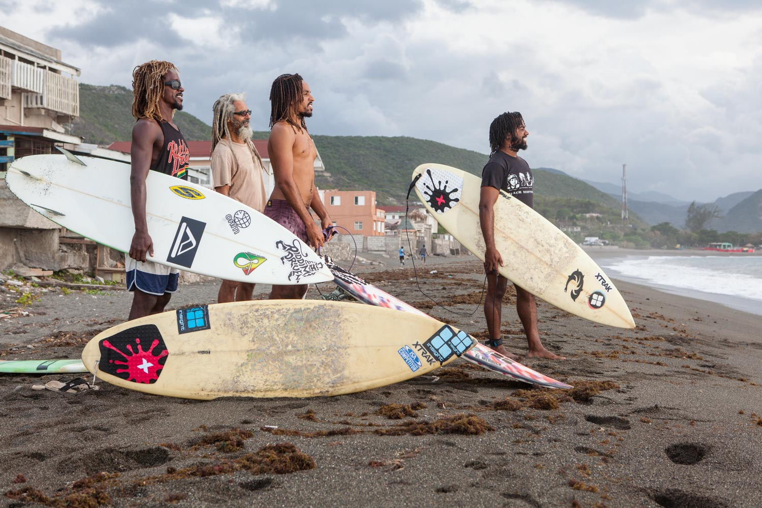 Icah, Billy, Inilek, and Ishack Wilmot get ready to hit the water. Photography by Marlon James