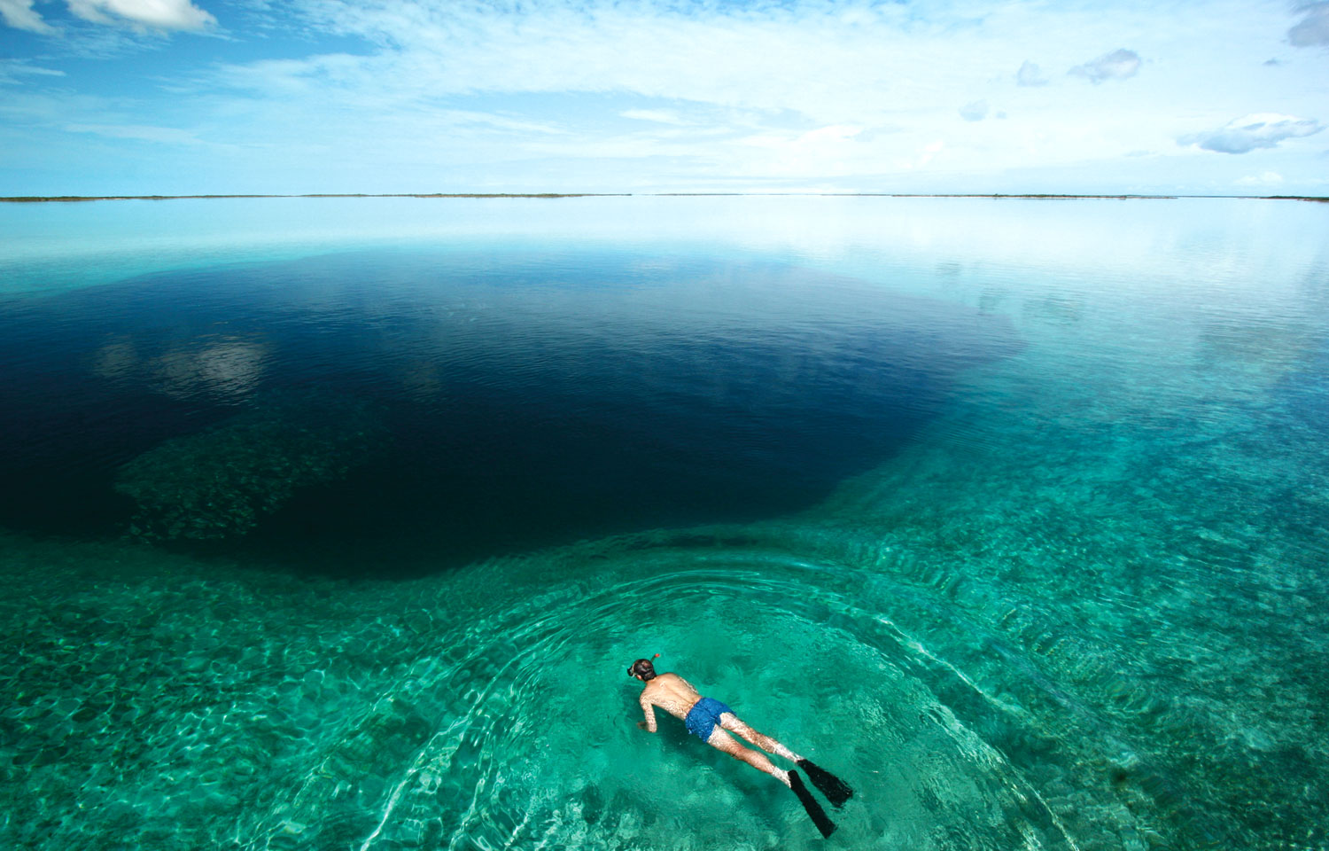 Snorkelling over one of the 110 ocean holes around Andros. Photograph by Brian O'Keefe