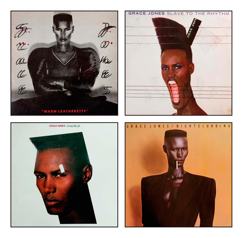 A succession of album covers in the 1980s helped establish the image of Jones as a personality defying boundaries. Photo by Eyebrowz/Alamy Stock Photo (top row). Photo by CBW/Alamy Stock Photo (bottom row)