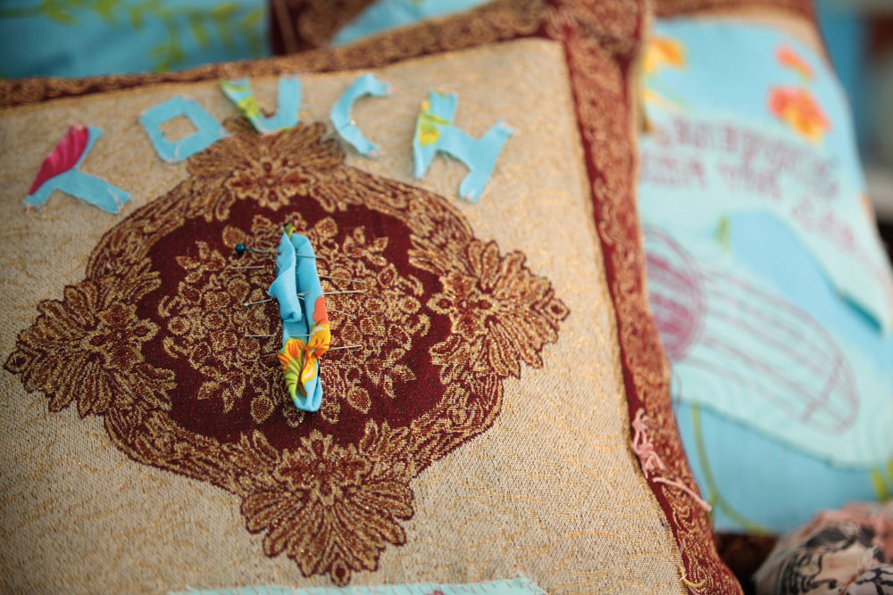 Detail of Vagina (sewing and embroidery on cushion, 2014). Photography courtesy Kelly Sinnapah Mary