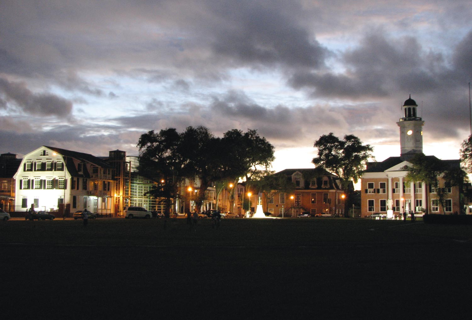 Dusk falls over Independence Square in Paramaribo