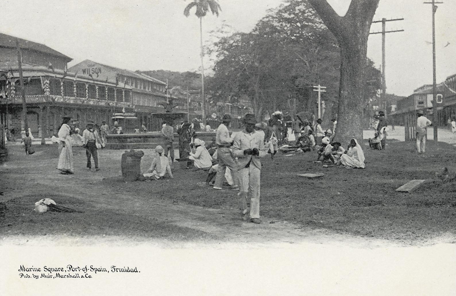 Marine (later Independence) Square at Frederick Street, before 1895. Postcard published by Muir, Marshall and Company. Courtesy Alma Jordan Library, University of the West Indies/Stephen Stuempfle