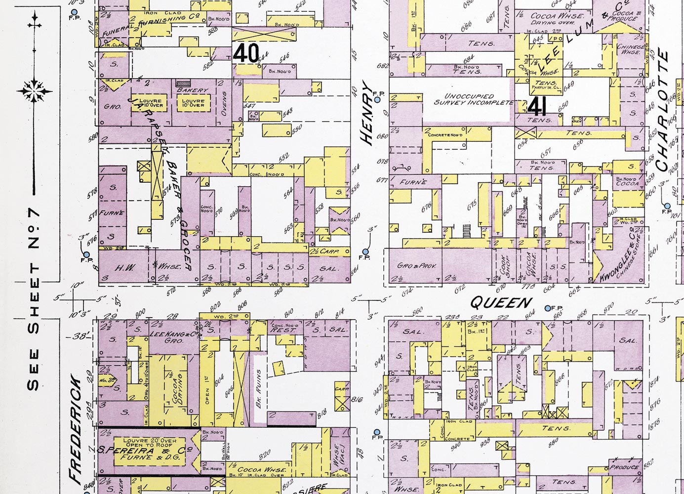 Plan of barrack yards inside the block of Queen, Charlotte, and George Streets, below the Eastern Market. Detail from sheet eight of Insurance Plan of Port of Spain, Trinidad, by Chas. E. Goad. Courtesy Digital Library of the Caribbean/Stephen Stuempfle