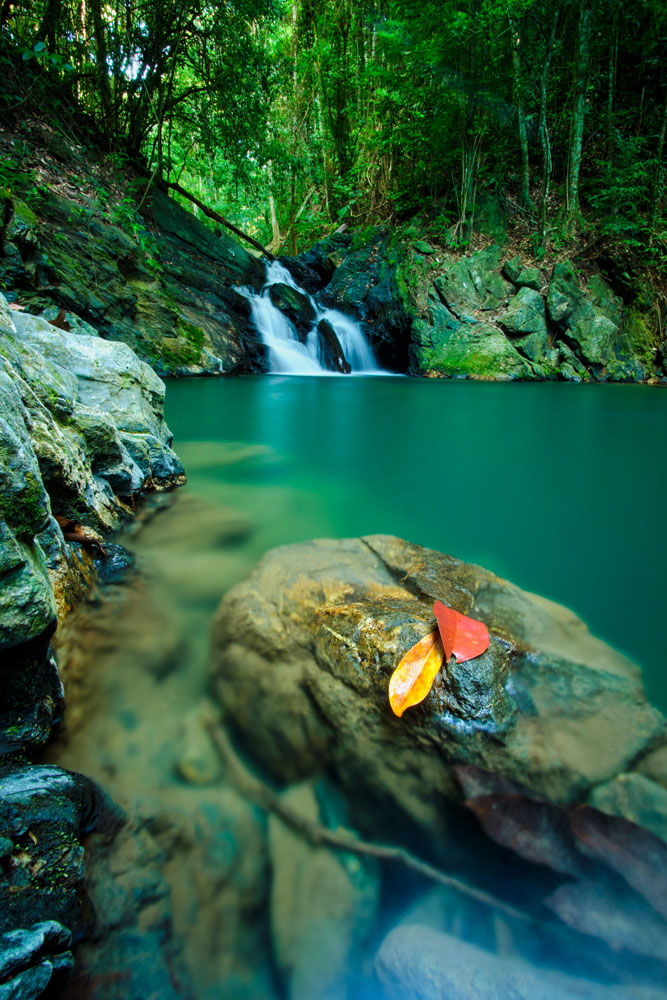 """The Balandra waterfall near Trinidad's northeast coast, near Matura. """"Early morning is the best time for this hike,"""" says Jason Audain. """"My intention was to capture the sun hitting the waterfalls. It was mystical."""" Photo by Jason Audain"""