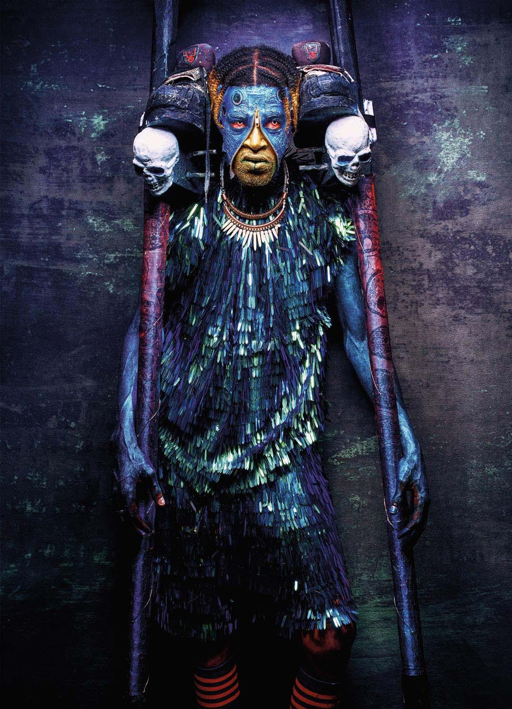 "Tekel ""Salti Lingo"" Sylvan, king of the moko jumbie band Moko Somõkõw, also competed in the 2019 traditional mas competition, portraying Blazing Moko. Photo Jason C. Audain"