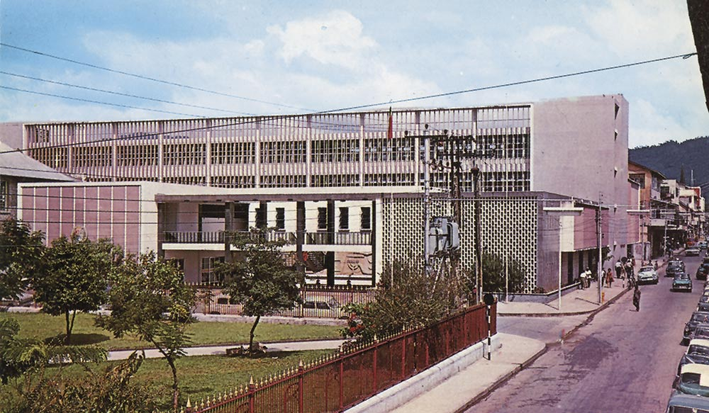 Port of Spain's New City Hall, completed 1961. Postcard published by H.O. Thomas. Courtesy Alma Jordan Library, University of the West Indies/Stephen Stuempfle