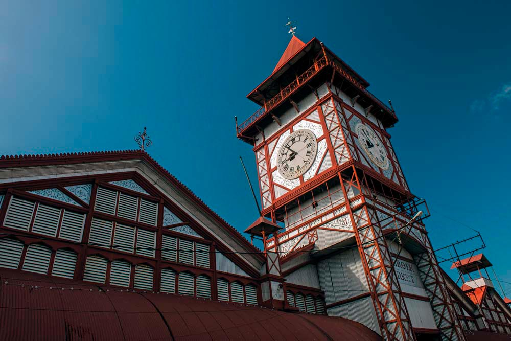 The Victorian clocktower of Stabroek Market is central Georgetown's main landmark. Photo by Pete Oxford