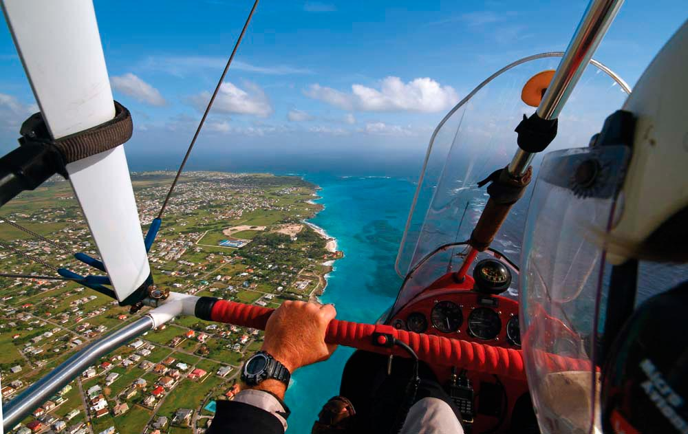 Microlighting, east coast, Barbados. Photo by Steve Grimshaw courtesy Airsportsbarbados