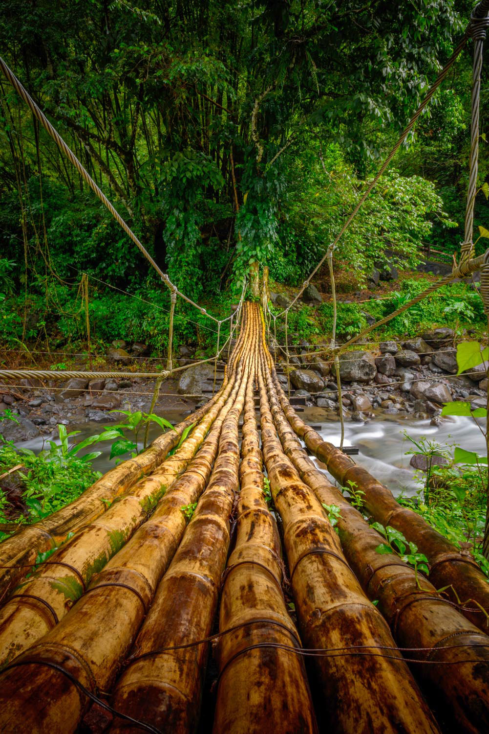 A bamboo bridge is one way to cross a rushing river while hiking in St Vincent's hills. Photo by mbrand85/Shutterstock.com