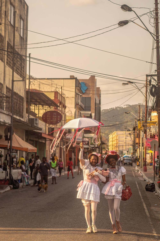 Authors Jarula M.I. Wegner and Amanda T. McIntyre on the street during Carnival 2019. Photo by Arnaldo James