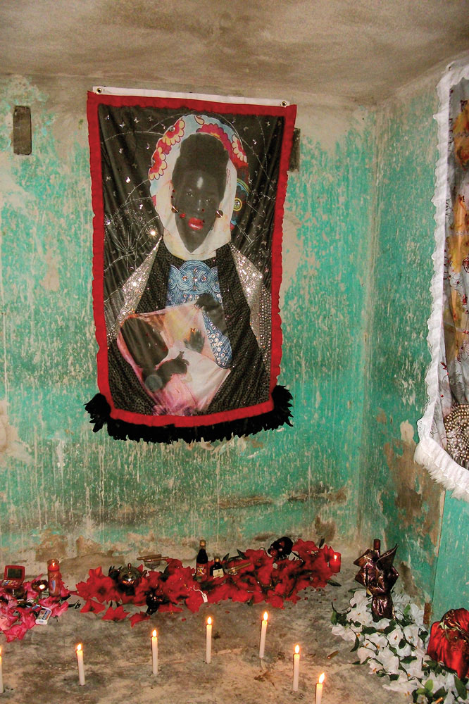 1st Ghetto Biennale, 2009: detail of Jessada, by Jamaican artist Ebony G. Patterson, a series of portraits of young black men in the style of traditional vodou flags. Photo by Ebony G. Patterson, courtesy Ghetto Biennale