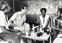 Tony Hall (far right) and Dennis Hall (second from right) at a Gayelle meeting in the early 1980s, with Errol Sitahal and Christopher Laird. Photo by Bruce Paddington