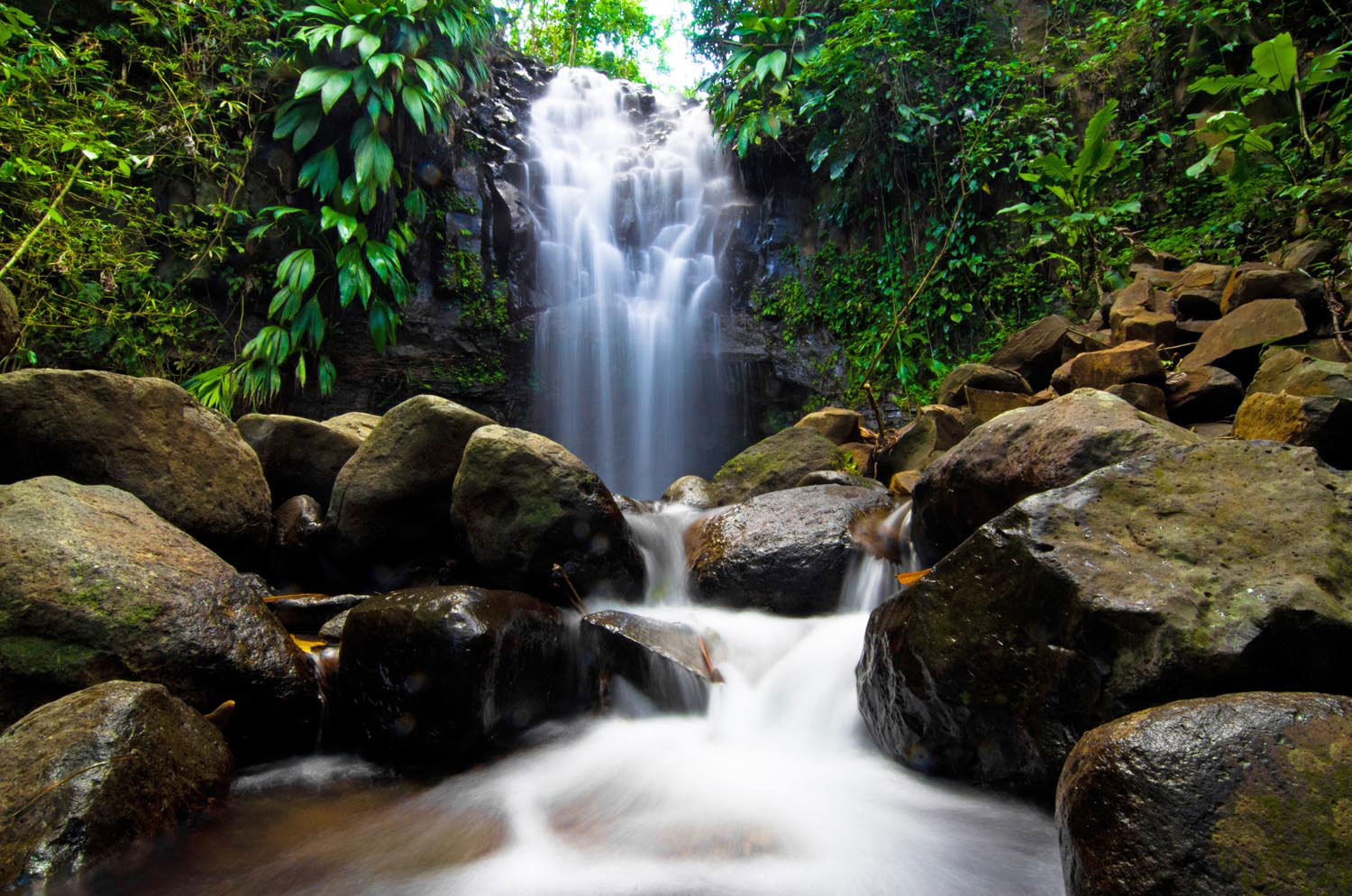 Grenada's Adelphi Waterfall is a short hike from the village of the same name. Photo by Orlando Romain, courtesy Grenada Tourism Authority