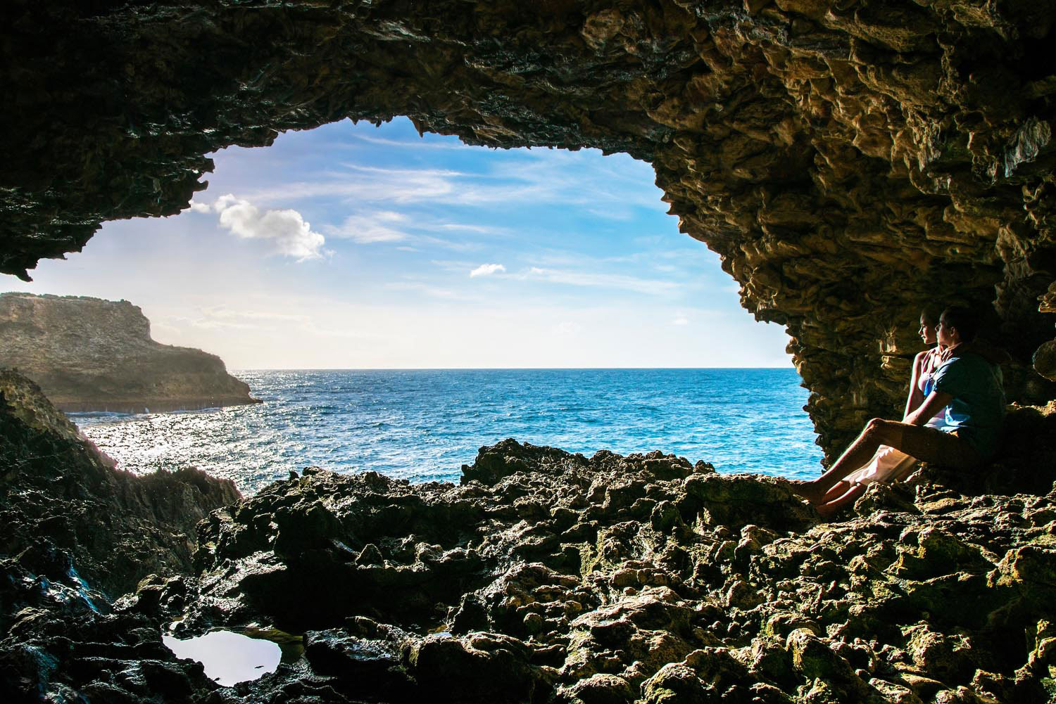 Enjoying the view from Animal Flower Cave near the northernmost tip of Barbados. Photo courtesy Barbados Tourism Marketing Inc