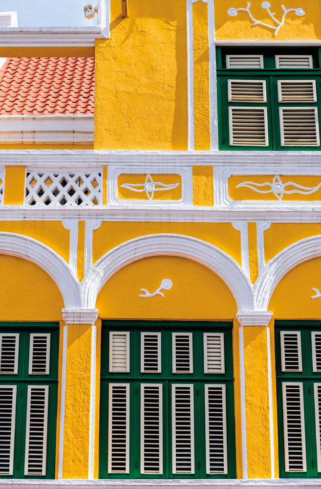 The façade of the ornate Penha Building, one of Curaçao's historic landmarks. Photo by Carol J. Saunders/Alamy Stock Photo