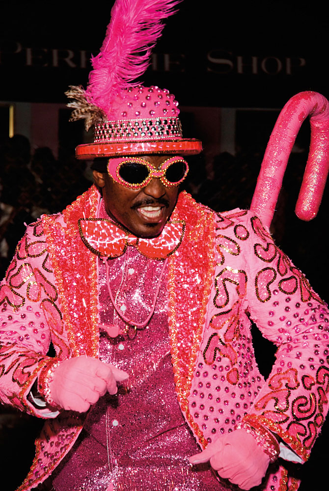 Full-on pink at Nassau's annual Junkanoo parade. Photo by Shane Pinder/Alamy Stock Photo
