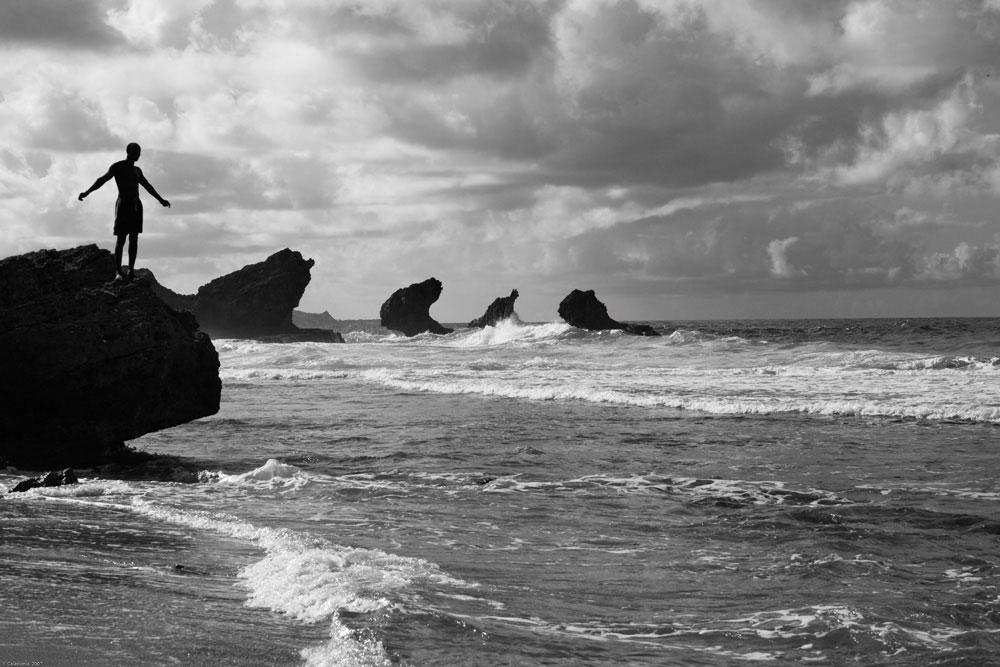 On the wild east coast of Barbados, Atlantic breakers meet limestone cliffs. Photo by Caledonia/Alamy Stock Photo