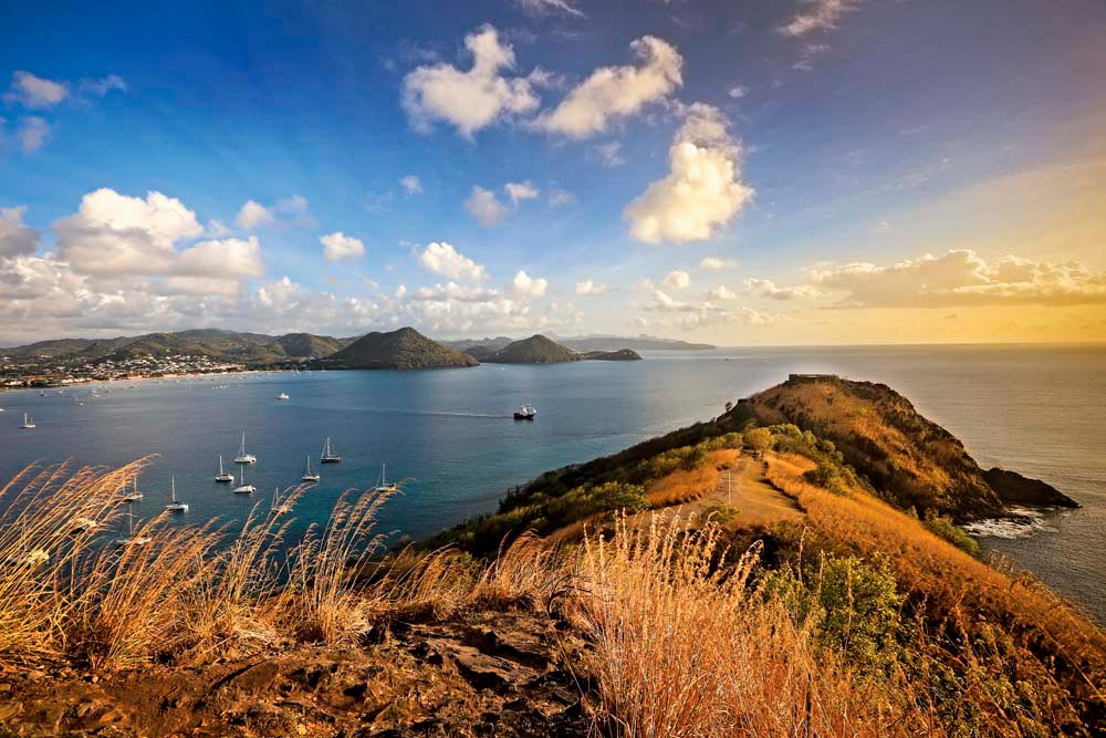 Sheltering Rodney Bay, Pigeon Island — now connected to the mainland by a man-made causeway — is one of St Lucia's key historic sites, home over the centuries to indigenous Caribs, French pirates, and the British military (#fort #panorama #forhistorybuffs). Photo by Danielle Devaux