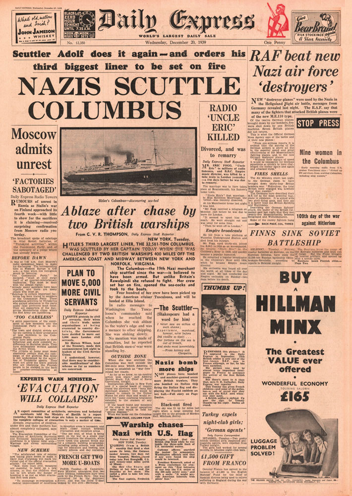 In December 1939, the captain of the SS Columbus scuttled the cruise ship rather than let it be captured by the Royal Navy. Photo by John Frost Newspapers/Alamy Stock Photo