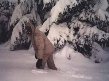 Peter Farrell knee-deep in snow, Kiseljak. Photograph courtesy P. Farrell