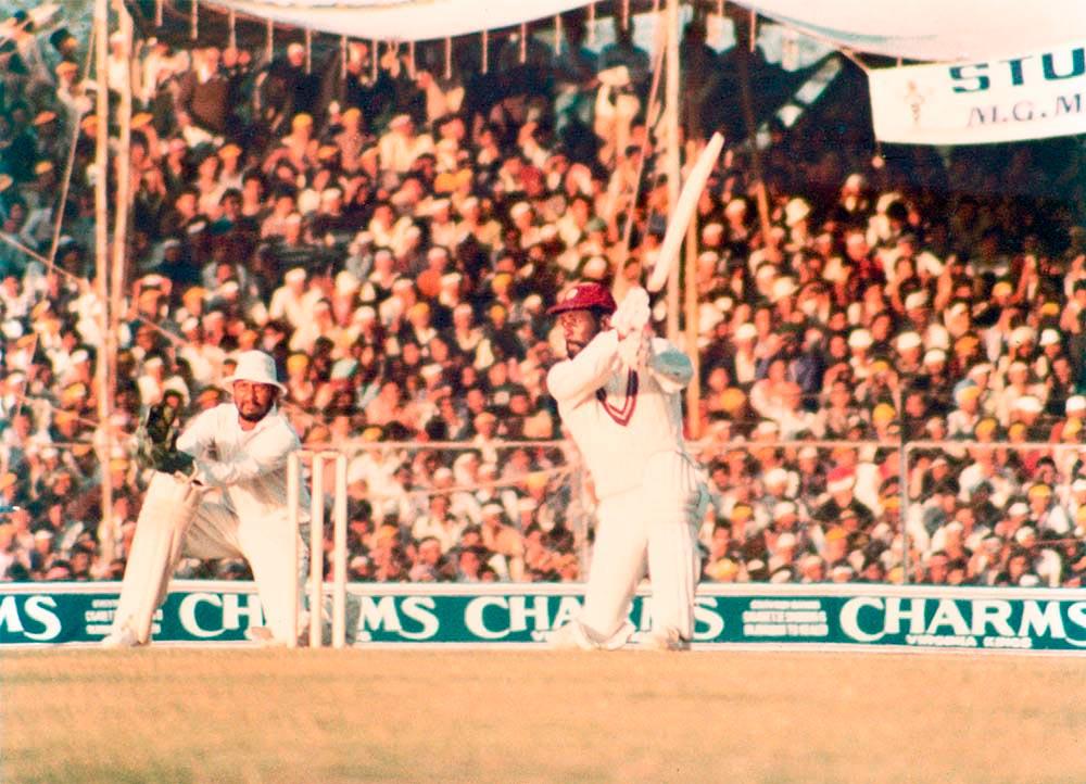 Former West Indies cricket captain, Vivan Richards, in fine batting form. Photo by Colin Cumberbatch