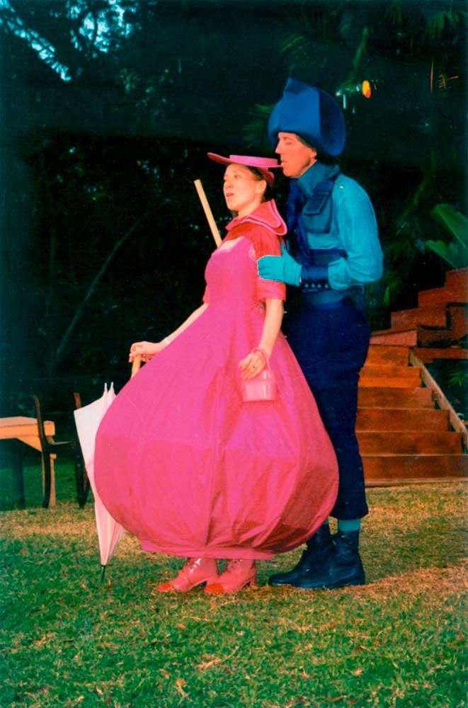 Actors and singers perform on the grounds of Holders House, during the 1999 presentation of Yarico: the musical. Photograph by Corrie Scott/ Holders Season