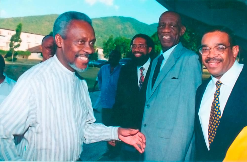 With Jamaican Prime Minister P. J. Patterson and the late William Demas at the launching of Demas's West Indian Development and the Deepening and Widening of the Caribbean Community