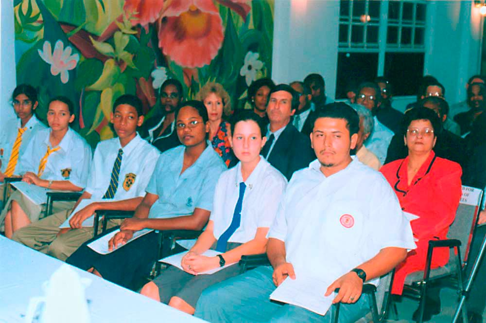 Top awardees in the CXC Caribbean Secondary Education Certificate (CSEC), 1999. Sheramie Ceballo is fourth from left, front row